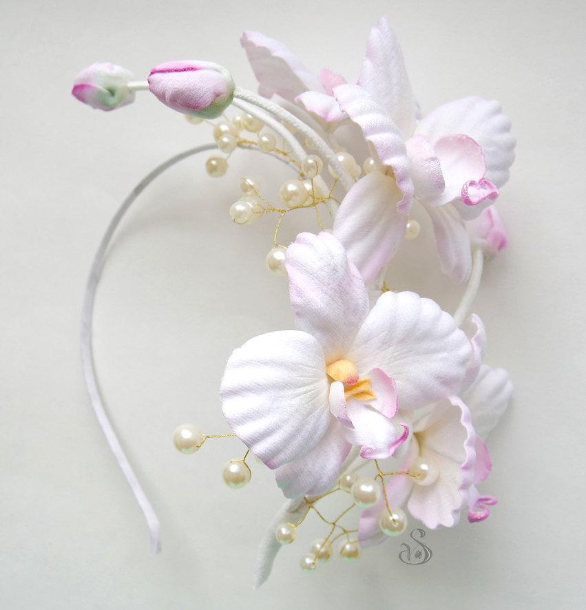 Hochzeit - Bridal Wedding Hair Crown White Orchid Tiara Vintage Wedding Bridal Flower Piece Fabric Flowers Flower Girl Headwear Floral Wreath Headwear