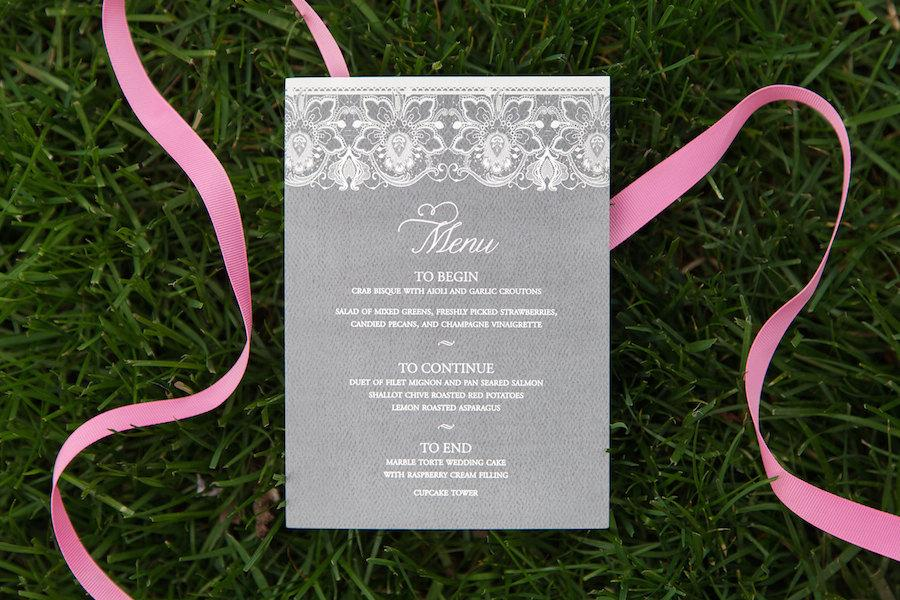 زفاف - Gray Lace Wedding Menu / Blush Menu / Blush and Gray / Vintage Wedding / Taylor Lace Menu Sample - Featured on Wed Loft
