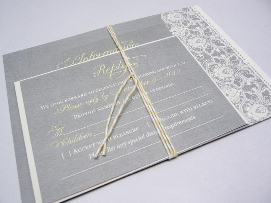 Hochzeit - Lace Wedding Invitation in Yellow and Grey, Yellow Invites, Gray Lace Invitations, The Taylor Lace Invite Sample