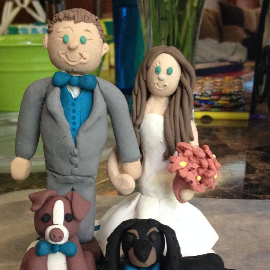 Свадьба - Custom Wedding Cake Topper with pets