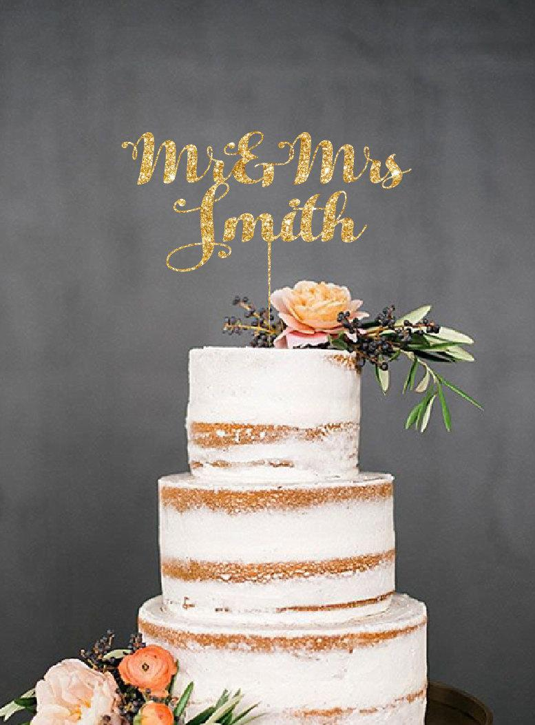 Wedding Cake On Name Toppers With Last Names Personalized