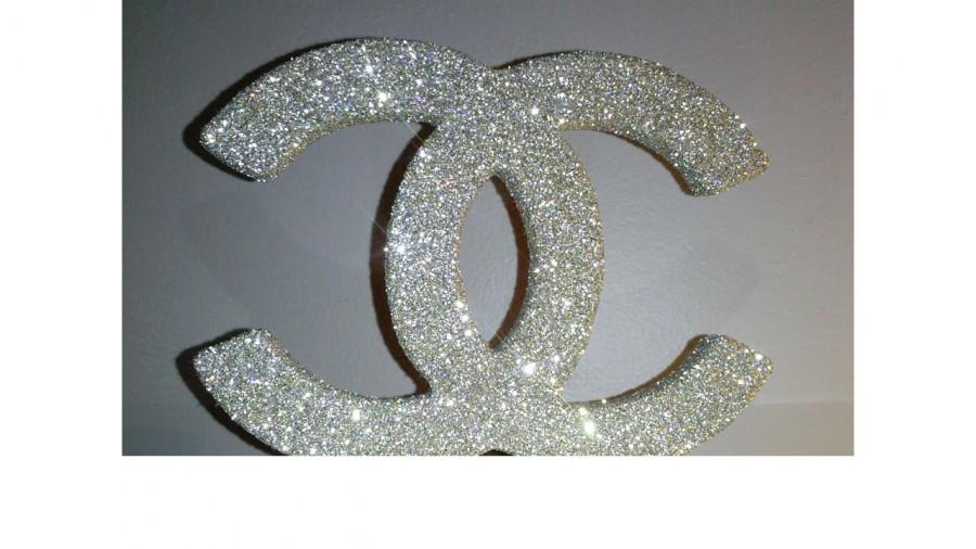 Mariage - Monogram cake topper 6 inch SILVER and GOLD  MIX Glitter