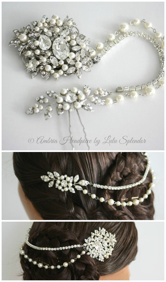 Hochzeit - Wedding Headpiece Bridal Hair Accessory Hair Piece With Swarovski Crystal Pearl Hair Chain AMBRIA HP