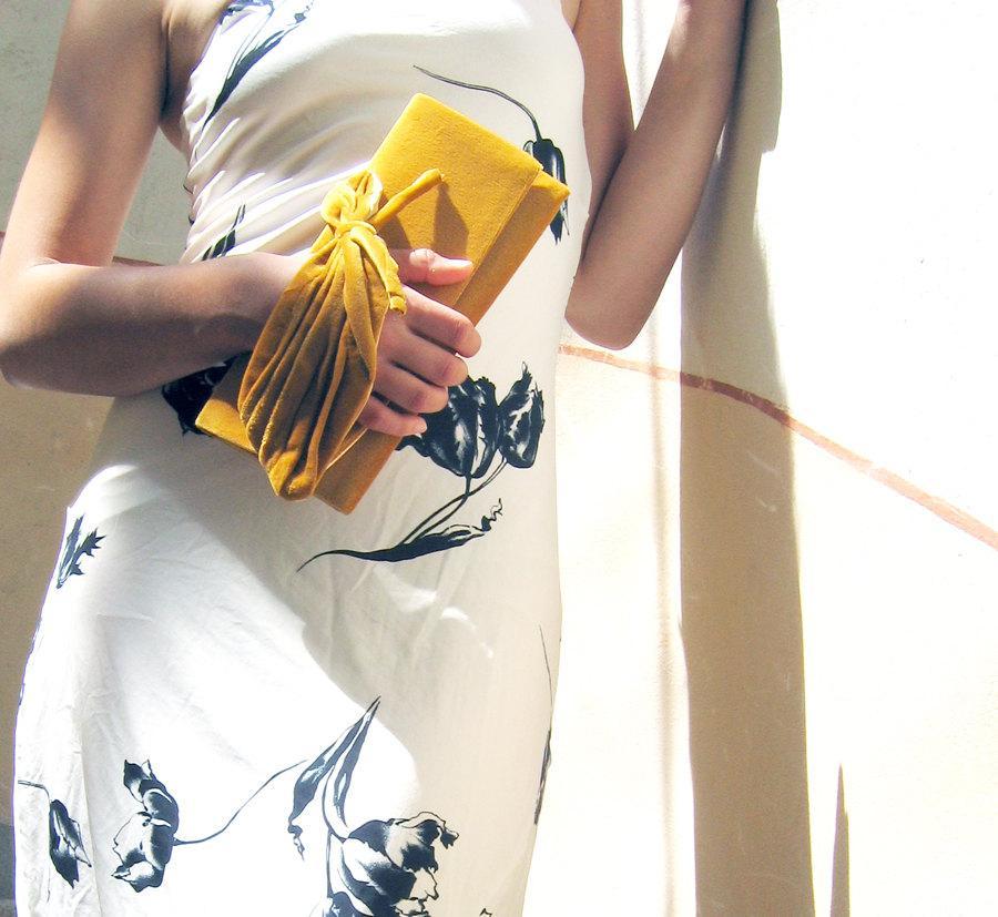 Wedding - Retro Golden Bridal Purse,Saffron purse, Velvet plush clutch Love mini - Clutch Bag - Made to Order