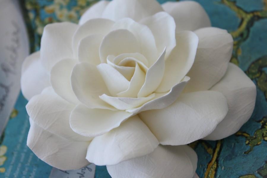 Wedding - Big Ivory Gardenia hair pin 4.5 inches