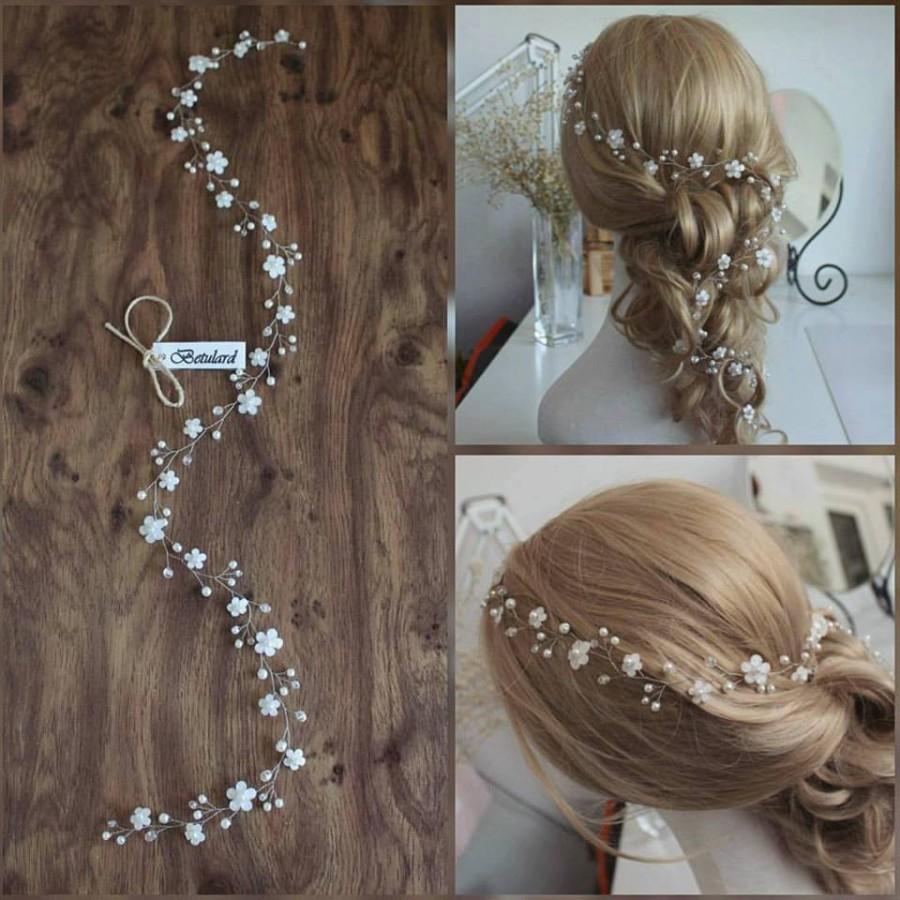 Wedding - White Floral Cyrstal Pearl Bridal 75 cm Long Hair Vine Wedding Headband