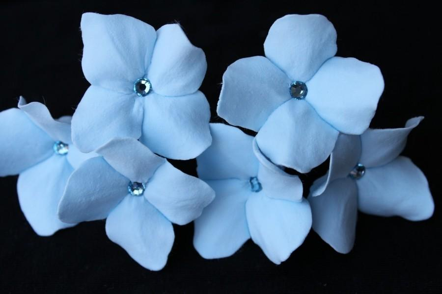 Wedding - 6 Blue Hydrangea Hair Pins