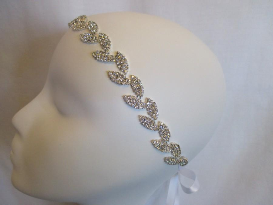 Wedding - Rhinestone Leaf, Leaves Wedding, Bridal, Head band, Hair Accessory, Head Pieces on Satin Ribbon