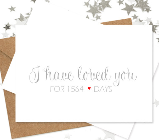 I Have Loved You For Number Of Days Wedding Card From Bride Or
