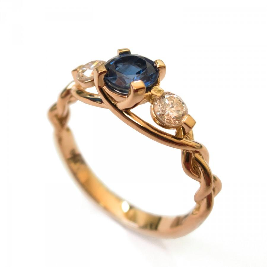 53c0e75b85afa Blue Sapphire Braided Engagement Ring - Sapphire And Diamond ...