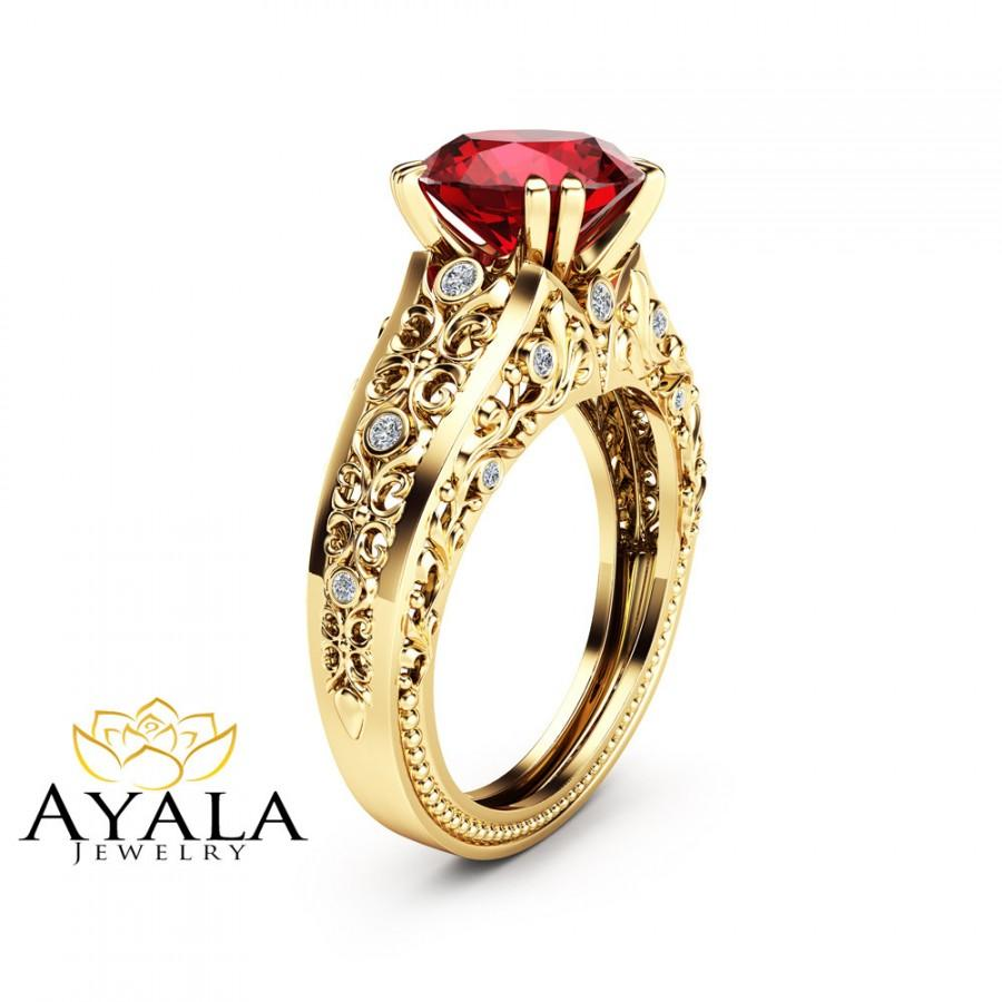 Unique 2 Carat Ruby Ring 14k Yellow Gold Alternative Engagement Filigree Design
