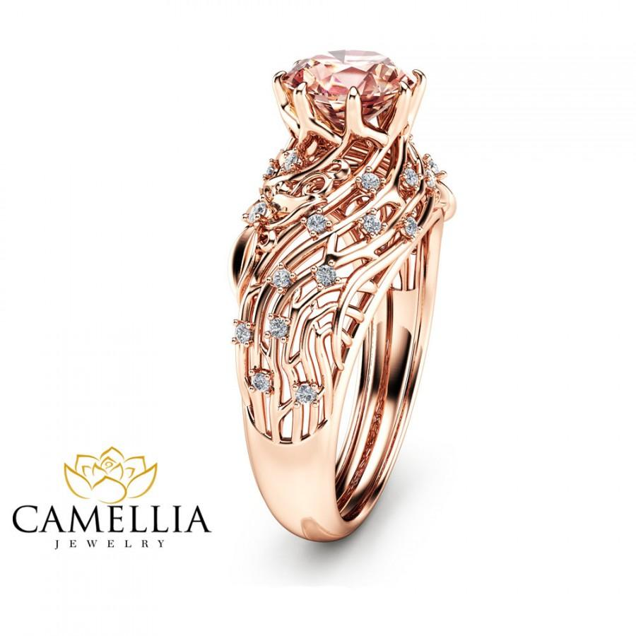gold camellia jewelry morganite ring rose pin engagement rings