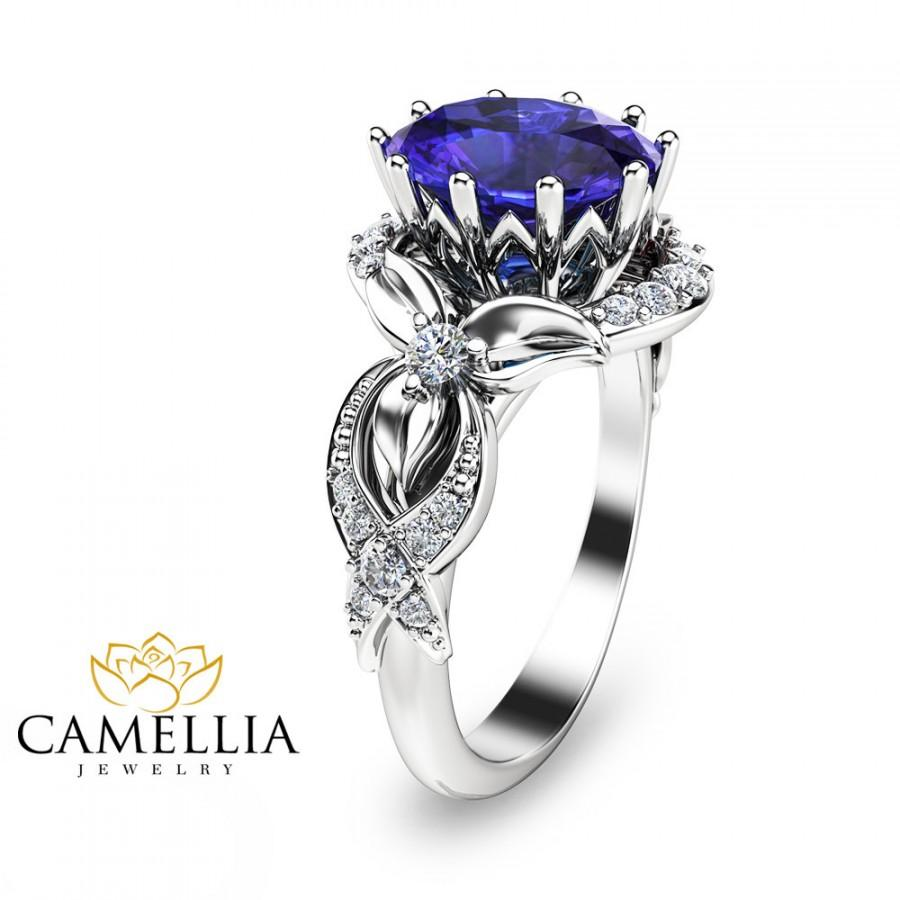 tanzanite engagement ring 14k white gold oval tanzanite