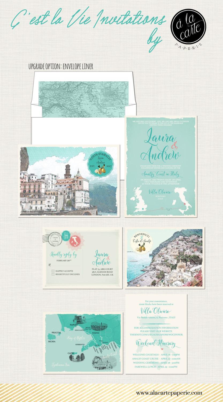 Destination Wedding Invitation Amalfi Coast Positano Atrani Sorrento ...