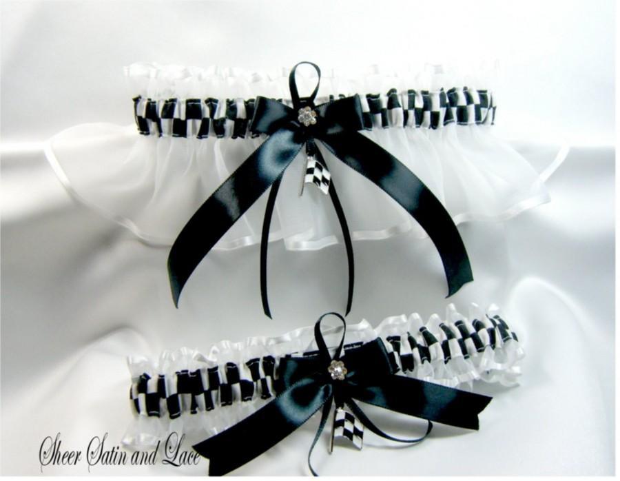 زفاف - CHECKERED FLAG racing wedding garters white garter