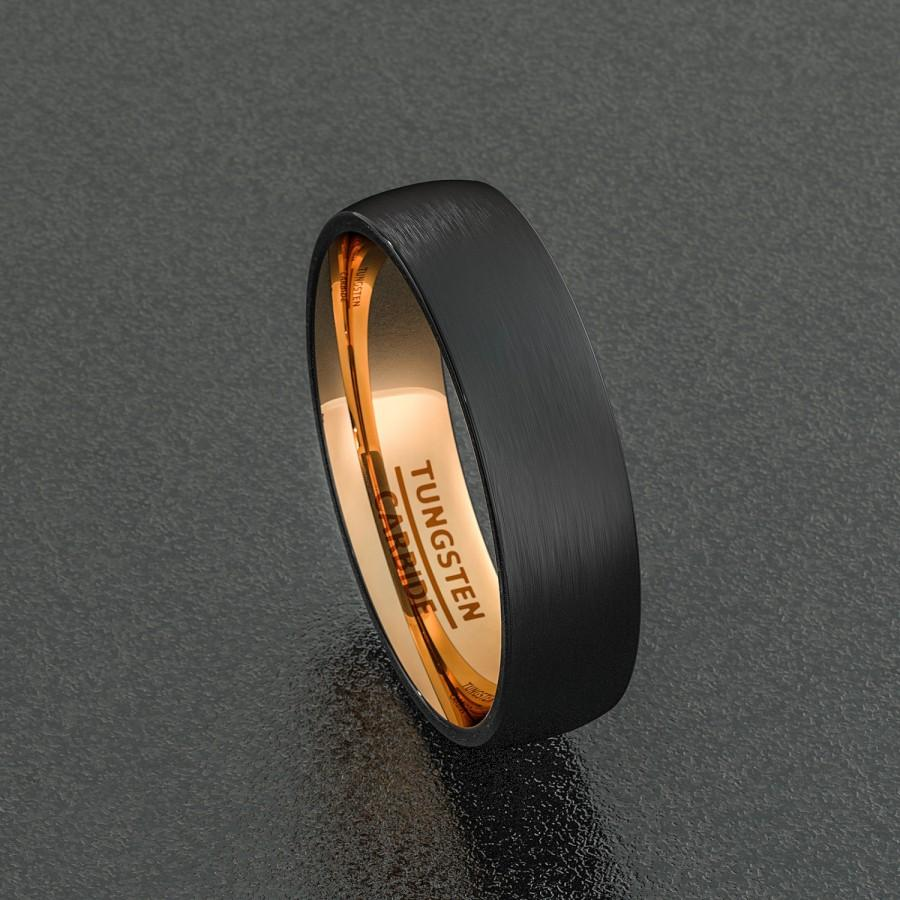 Mens Wedding Band 6mm Black Brushed Tungsten Ring Dome Rose Gold Inside Comfort Fit
