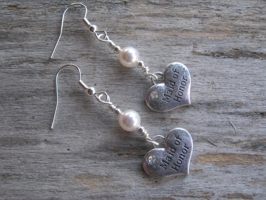 Mariage - Maid Of Honor Earrings, Personalized Wedding Earrings, Pearl Earrings, Swarovski, Bridal Earrings, Dangle, Heart Earrings, Bridesmaid