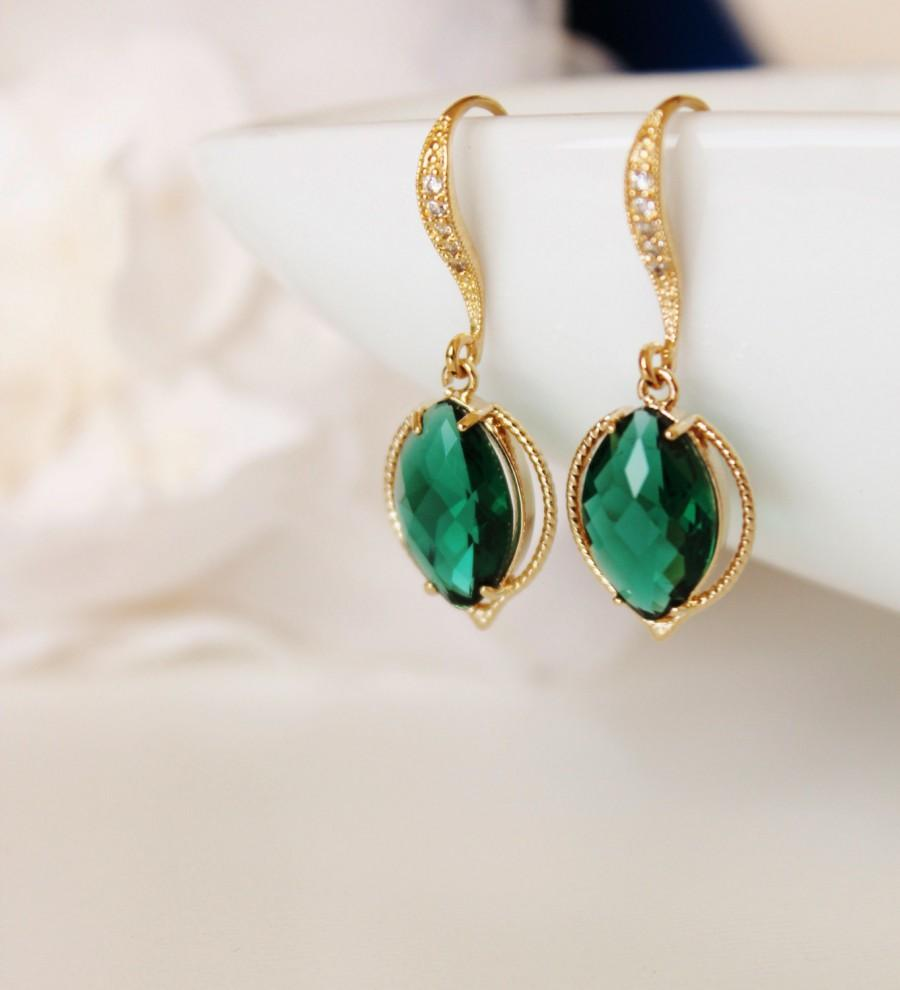 Mariage - Emerald Green Wedding Earrings Gold Green Bridesmaid Gift Emerald Bridesmaid Earrings Leaf Jewelry Emerald Earrings