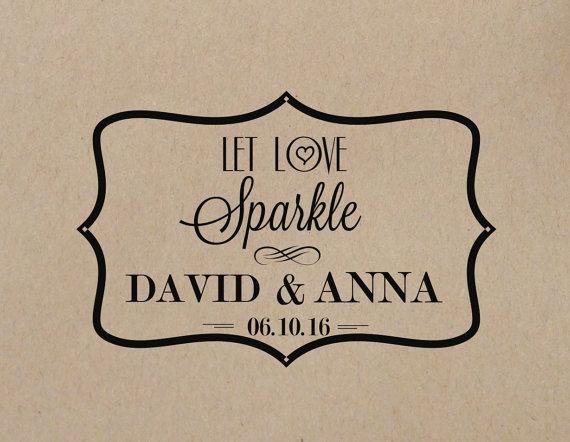 Hochzeit - Wedding Stamp Let Love Sparkle Stamp Wedding Rubber Stamp Nautical Wedding Stamp