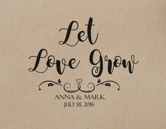 Mariage - Wedding Stamp Let Love Grow Personalized Wedding Stamp Self Inking