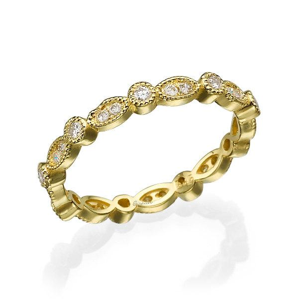 Mariage - eternity ring, yellow gold ring, eternity band, Wedding Band, Wedding Ring, diamond ring, art deco ring, full setting ring, Leaf Ring