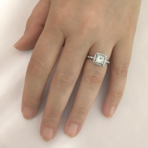 Wedding - Princess Cut Halo Diamond Engagement Ring 14k White Gold or Yellow Gold Art Deco Natural Diamond Ring