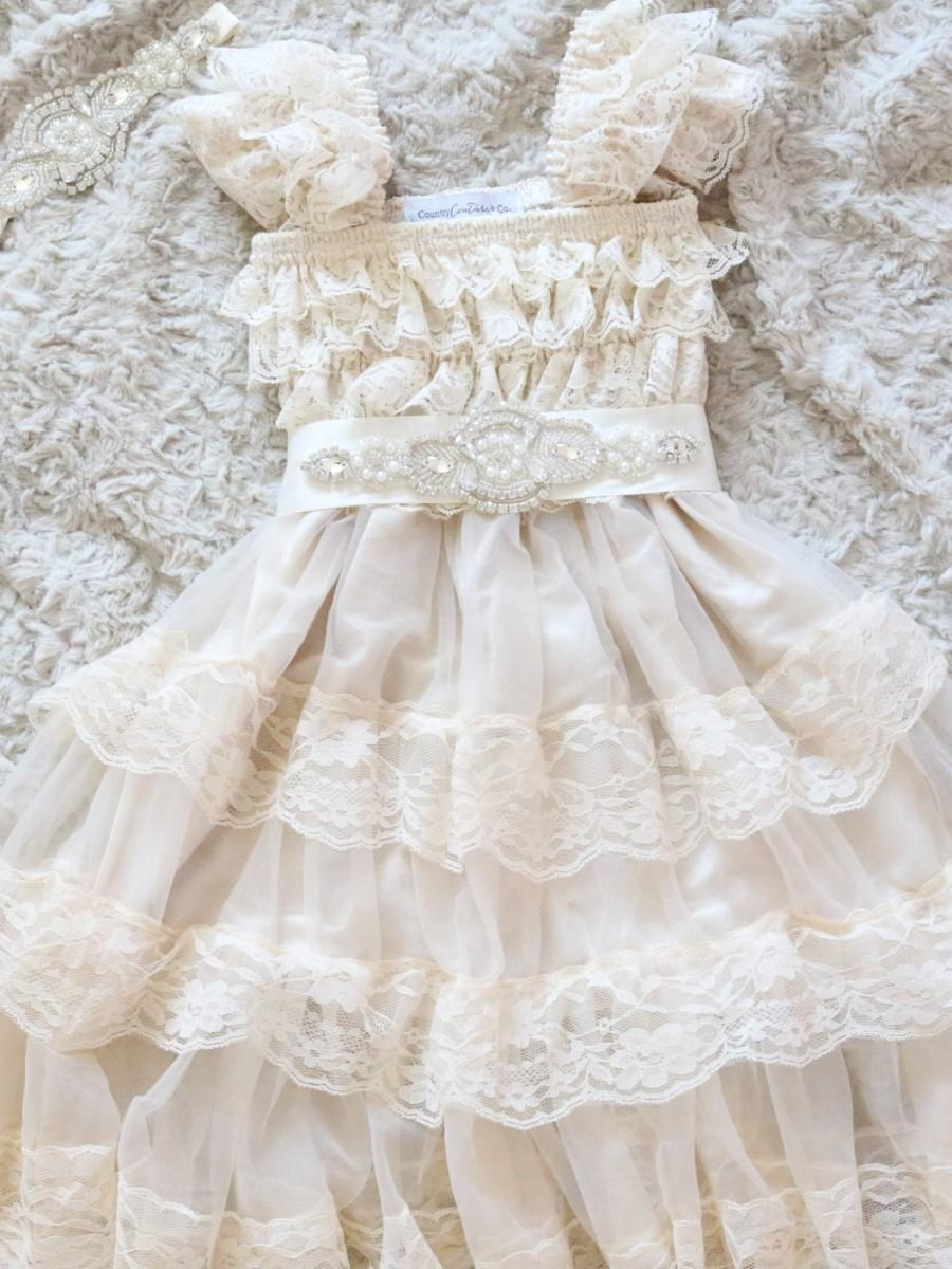 Mariage - Champagne Lace Rhinestone Pearl Flower Girl Dress - Cream Lace Baby Doll Dress - Rustic Flower Girl Dress - Vintage Flower Girl -Shabby Chic