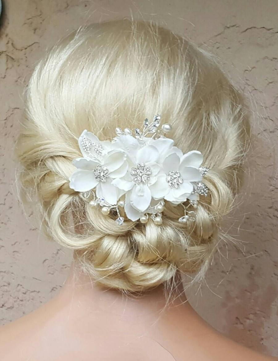 Свадьба - Bridal Hair Comb, Wedding Comb, Decorative Comb, Floral Wedding Comb, Rhinestone  Bridal Comb, Ivory Pearls, rhinestone leaves, crystals