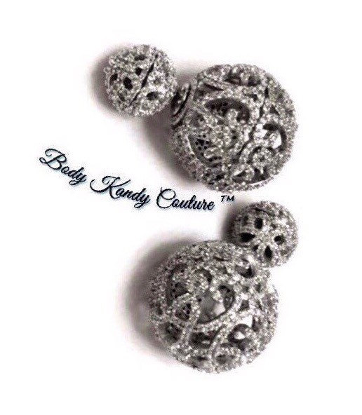 Double Filigree Ball Earrings Vintage Bridal Pave Stud Diamond Ear Jacket Side Earring Studs