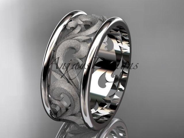 Mariage - Platinum leaf engagement ring, wedding band ADLR121G