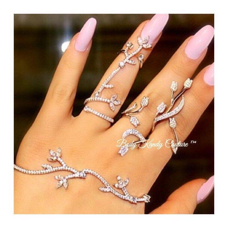 Elegant Wedding Jewelry Set Hand Bracelet 4 Finger RingHandlet