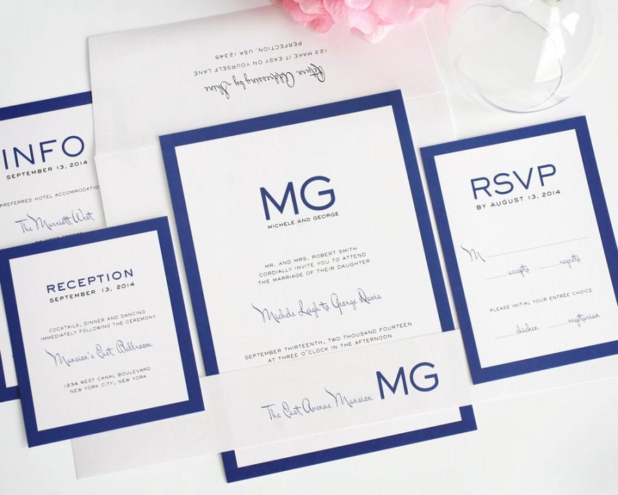 زفاف - Modern Wedding Invitation, Wedding Invite, Blue, Simple, Unique, Monogram, Borders - Modern Luxe Wedding Invitation - Sample Set