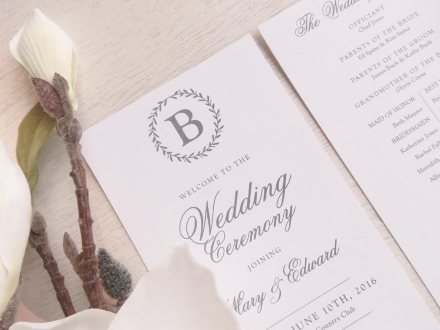 Mariage - Printable Wedding Program - Style P70 - LAUREL Wreath COLLECTION