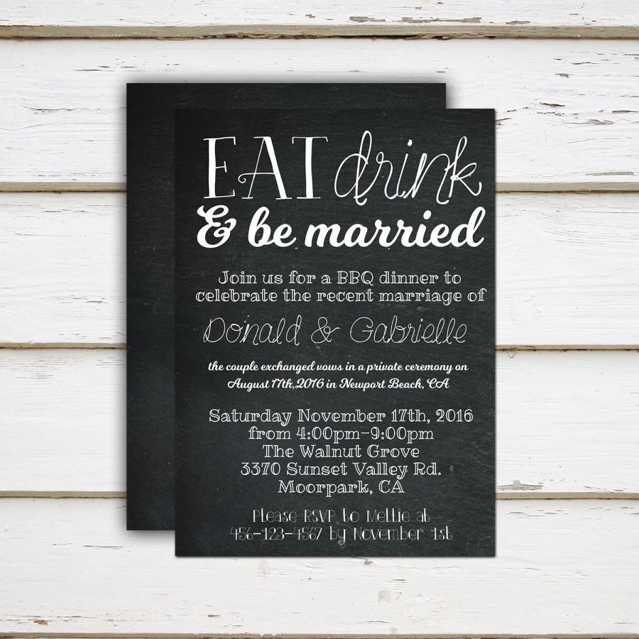 Mariage - Scarlett - Printable / Printed Elopement Reception Invitation