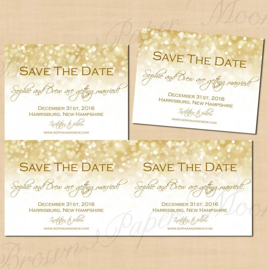 white gold sparkles save the dates 5 5x4 25 text editable