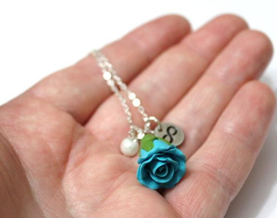 Mariage - Rosebud Infinity Necklace Turquoise rose Necklace, Flower Jewelry, Infinity Necklace, Charm, Bridesmaid Necklace, Turquoise Jewelry