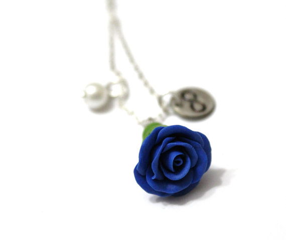 Wedding - Rosebud Infinity Necklace Blue Rose Necklace, Flower Jewelry, Infinity Necklace, Bridesmaid Necklace, Blue Rose Jewelry