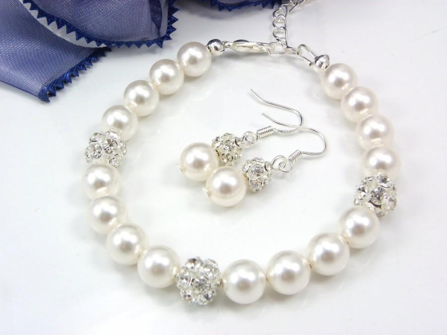 Wedding - Bridesmaid gift, Set of 1,2,3,4,5,6,7,8,9,10 Bracelets And Earrings Set, Bridal Jewelry Swarovski Ivory Pearl weddings bridal bracelets gift
