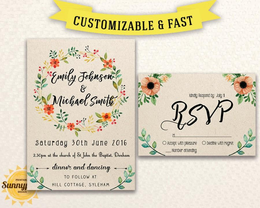 Printable Wedding Invitation Template Download   Floral   Kraft   Rustic   Wedding  Invitations With Rsvp   DIY Wedding Invitation Template