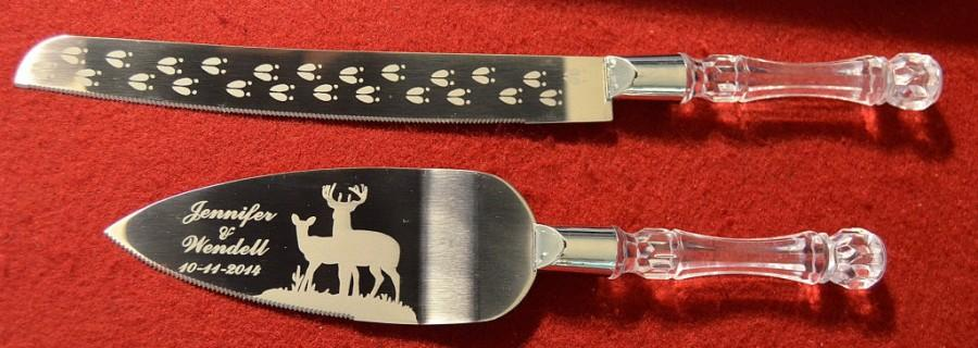 Свадьба - Deer Couple, Buck and Doe Wedding Cake Knife and Server with Names and Date FREE