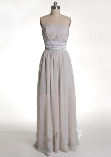 Hochzeit - Sleeveless Ruched Lace Chiffon Floor Length Strapless Zipper