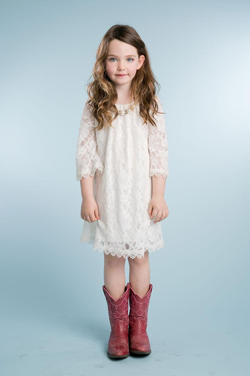 Sweet Bohemian Lace Flower Girl Dress With Removable Necklace ...