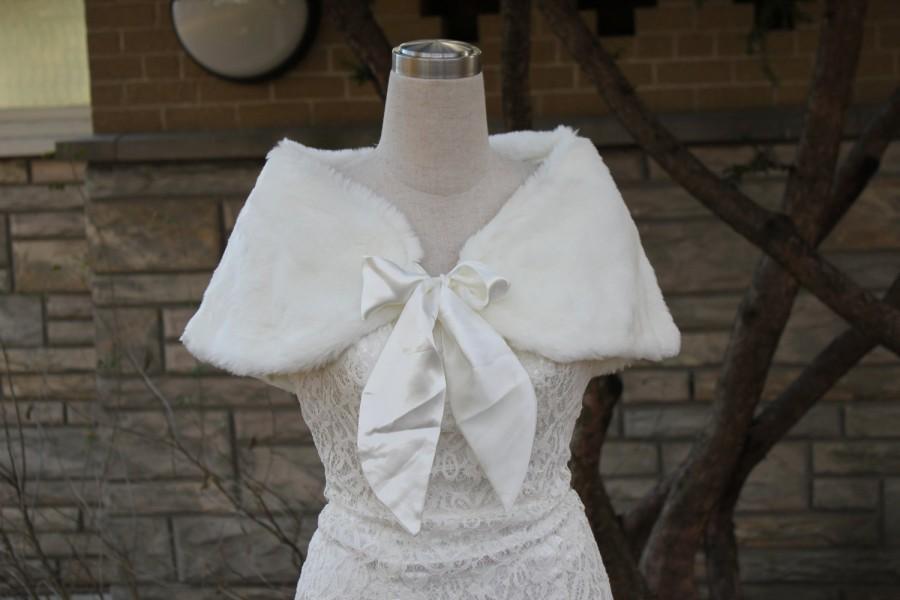 زفاف - Ivory faux fur bolero faux fur shrug Wedding bolero wedding jacket bridal bolero bridal jacket wedding shrug wedding jacket