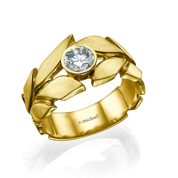 Wedding - Diamond solitaire ring, Diamond Ring, Leaves  Engagement Ring, yellow Gold Ring, Solitaire ring, Wedding Ring, Leaf Ring, band ring, 14K 18K