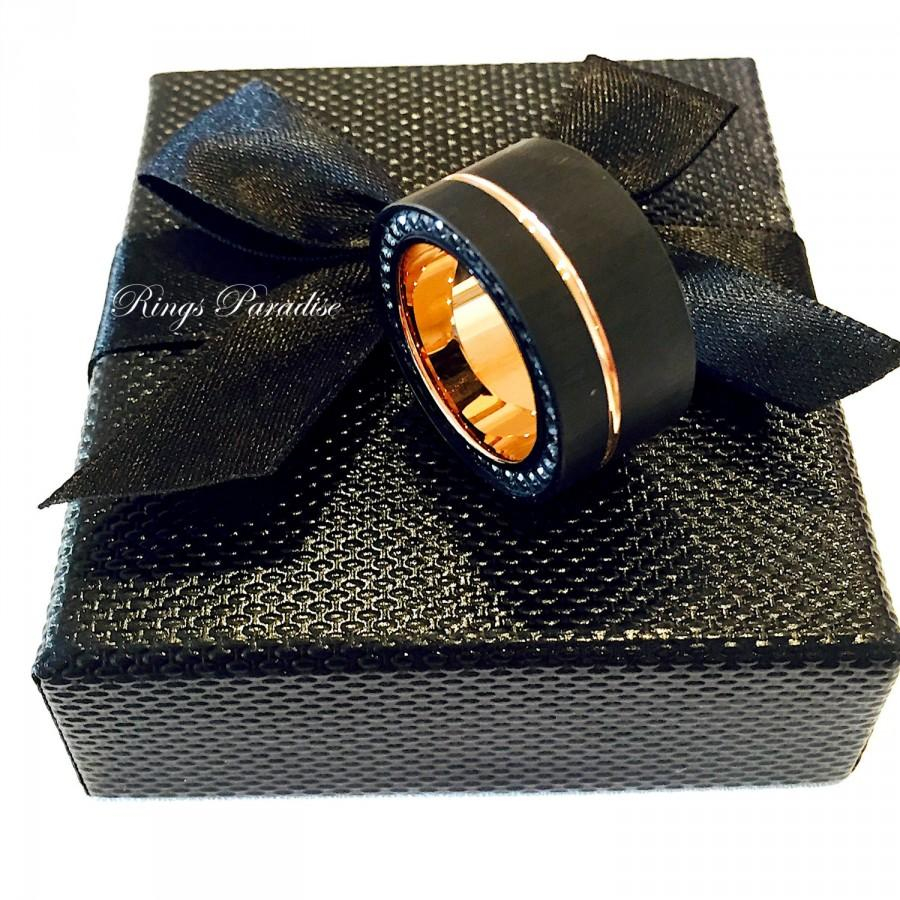 18k rose gold tungsten carbide 18 karat rose gold ring rose gold ring with carbon fiber inlay rose gold ring tungsten carbon fiber gold tungsten wedding bands 18K Rose Gold Wedding Ring With Black Carbon Fiber Inlay