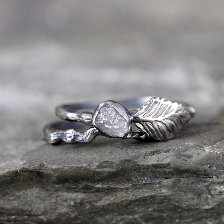 Twig & Leaf Raw Diamond Engagement Ring Set  Nature Inspired  Raw Uncut Rough  Diamond Rings  Raw Diamond Jewellery Made In Canada