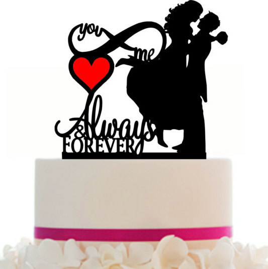 Свадьба - Custom Wedding Cake Topper Mr and Mrs Infinity Always and Forever with Removable Spikes and free base for display CX1044
