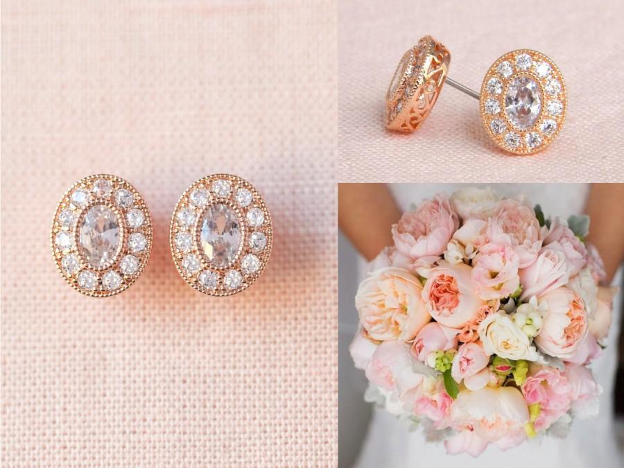 Rose Gold Stud Earrings Bridal Crystal Bridesmaid Jewelry Wedding Jewellery Christine