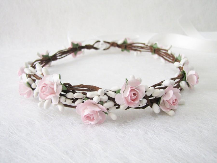 Wedding Floral Crown Light Pink Flower Headband Floral Head Wreath