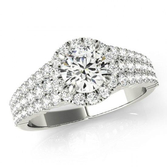Wedding - Moissanite Engagment Rings Etsy - Los Angeles -  Forever one Moissanite & Diamond Three Row Engagement Ring 14k White Gold - Moissanite Engagement Rings Etsy - Moissanite Jewelry